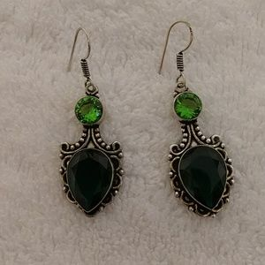 Jewelry - Peridot and emerald green colored quartz earrings